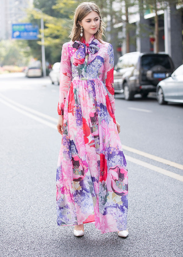 Base Pink Multicolor Print Dress