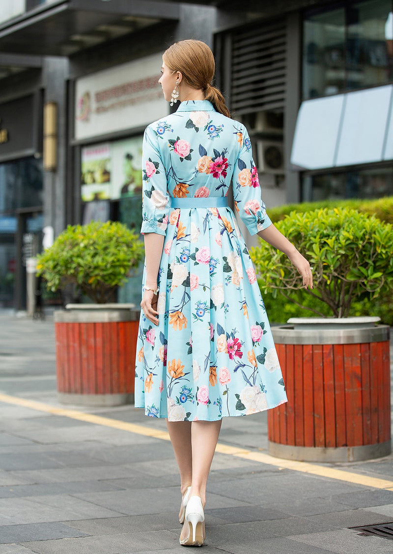 Light Blue Wrap & Floral Print Dress