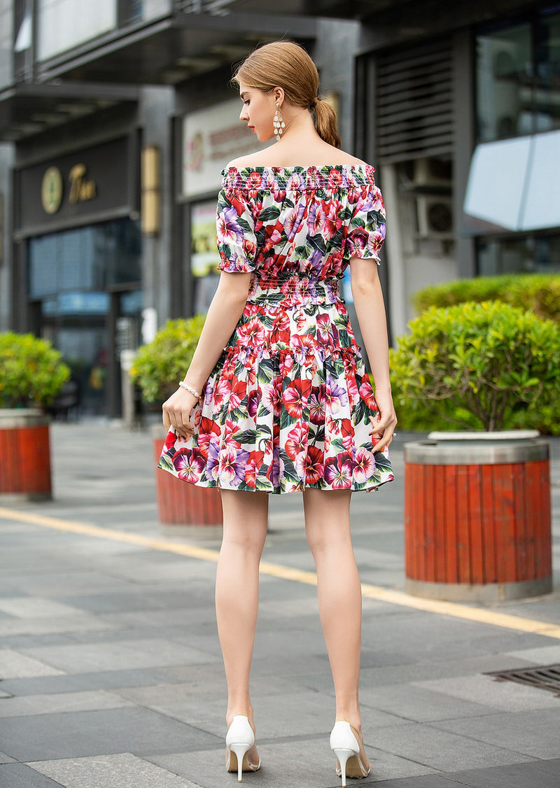 Multi White & Floral Print mini Dress