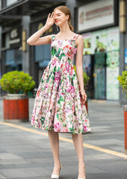 Go Light Pink & Floral Print Dress