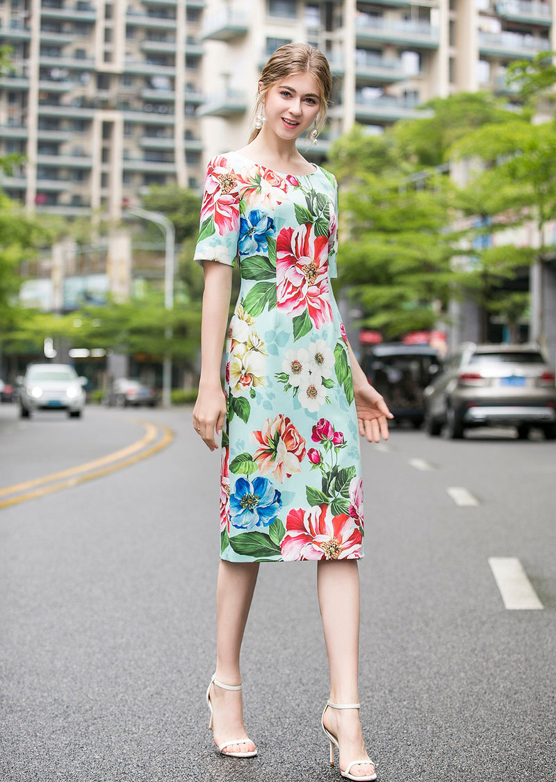 Light Green Multi Floral Print Dress