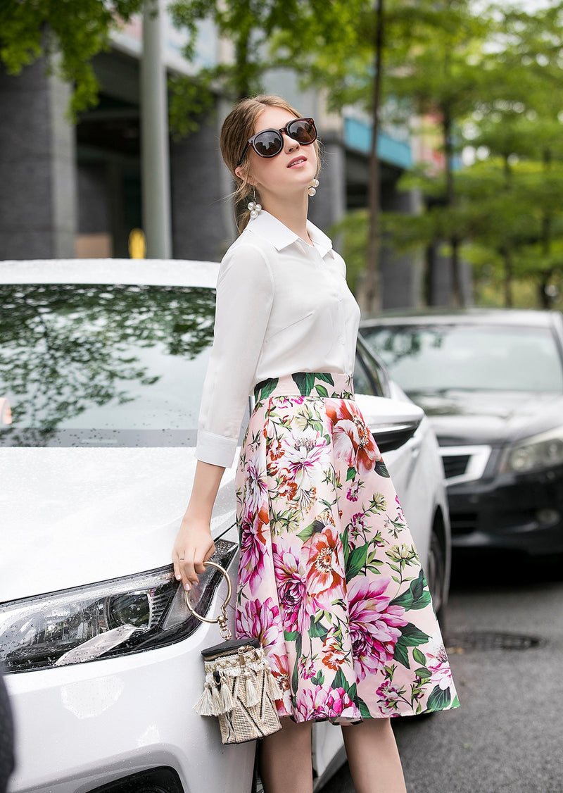 Multi White & Light Pink Floral Suit Bundle (Shirt & Skirt)