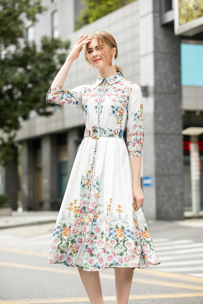 Multi floral white print Dress