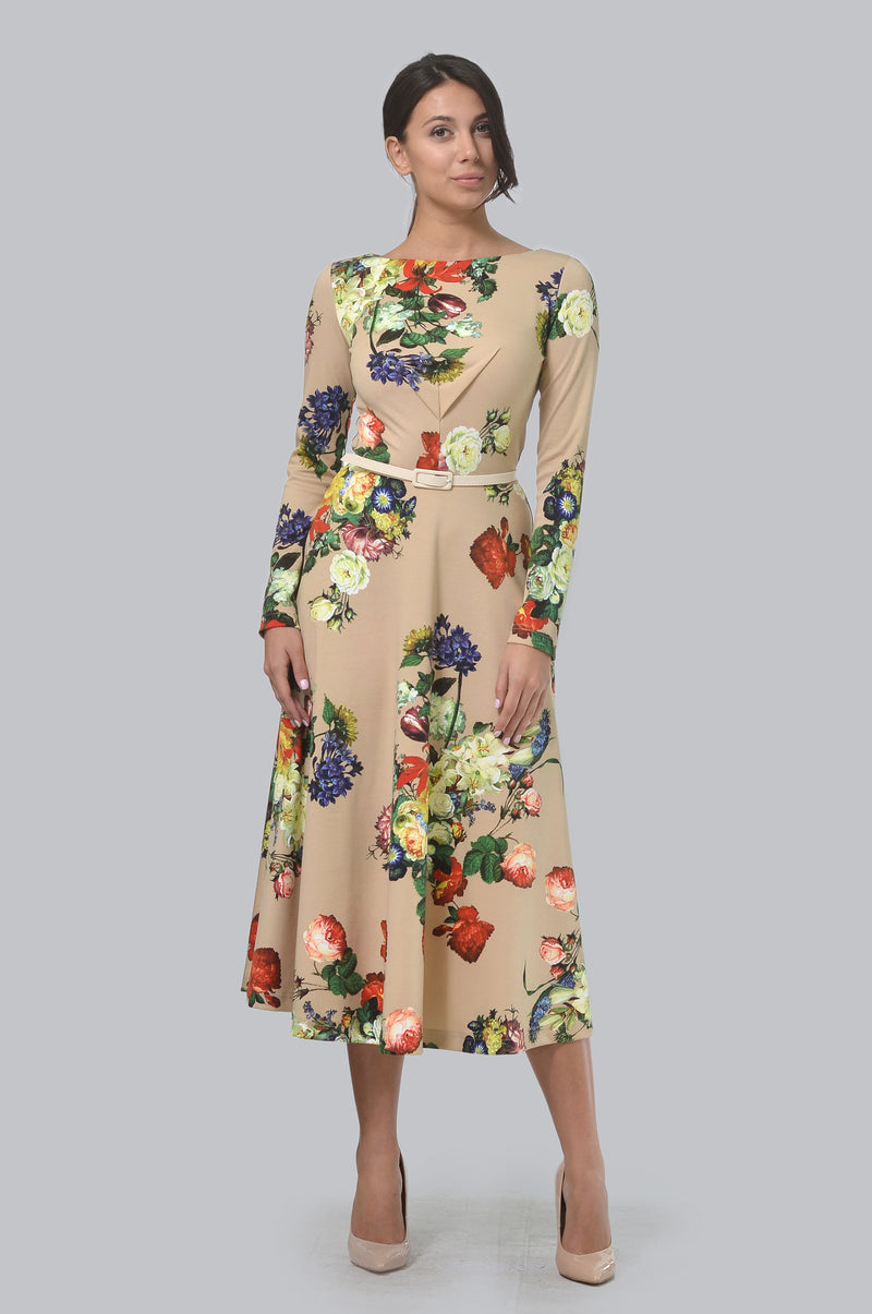 Multi Flower Mix Design Dress In Base Biege