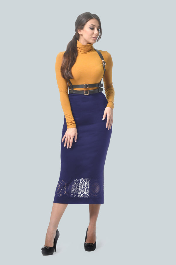 Bodycon Dark Blue Skirt & Harness