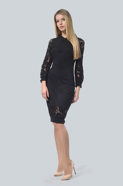 Bodycon Lace Sleeves Dress in Black