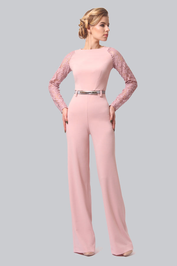 Detailed Top Pink Jumpsuit