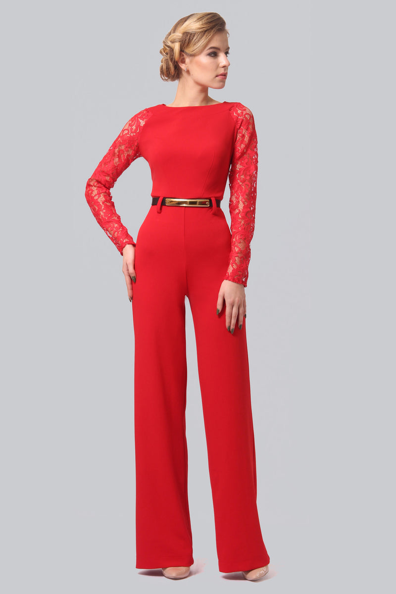 Detailed Top Red Jumpsuit