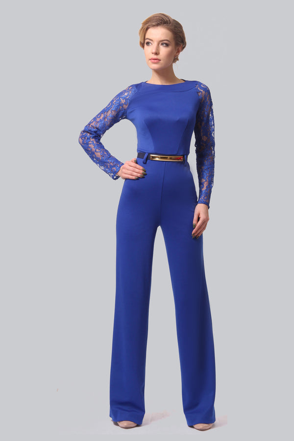 Detailed Top Blue Jumpsuit