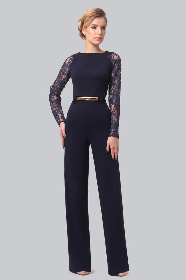 Detailed Top Navy Blue Jumpsuit