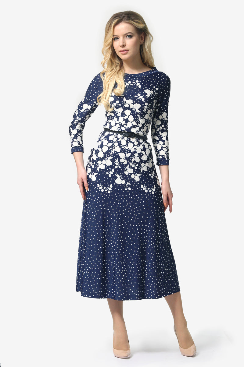 Blue & White Patterns Print Dress