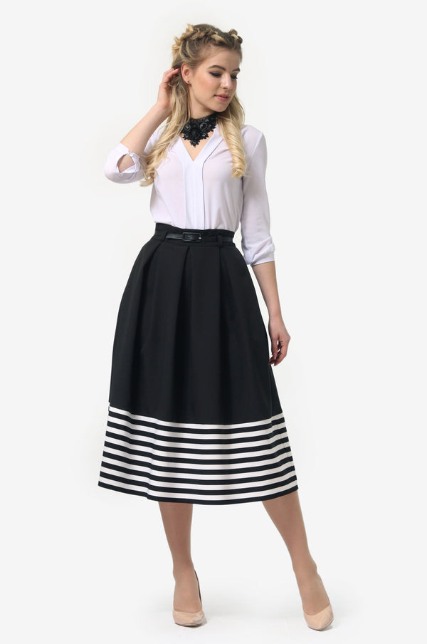 Multicolor Striped Extended Skirt
