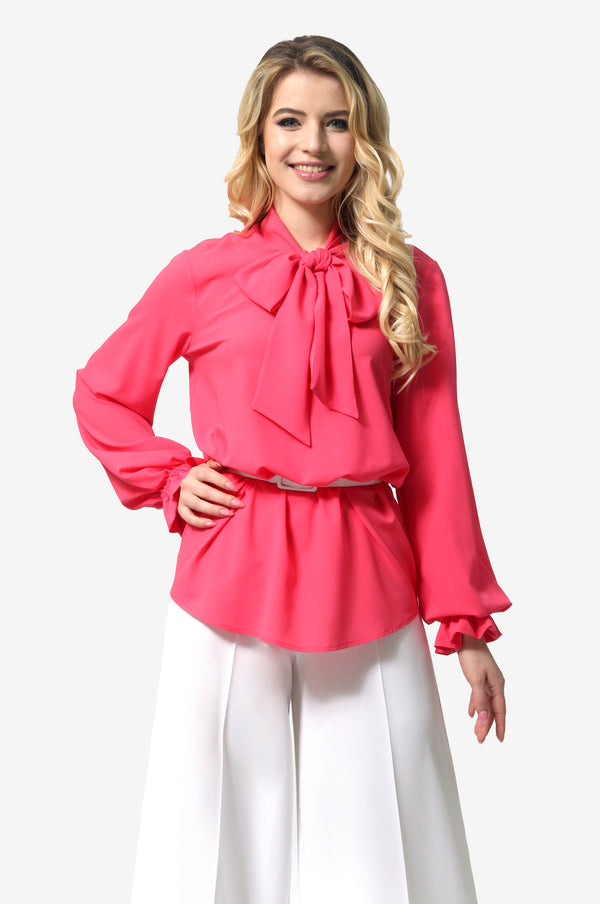 Neck Tie Blouse in Pink