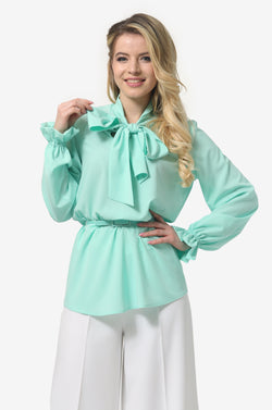 Neck Tie Blouse in Neon Green
