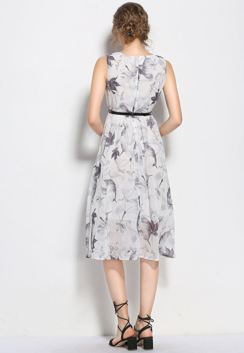 Dry leaves patterns & belted Dress