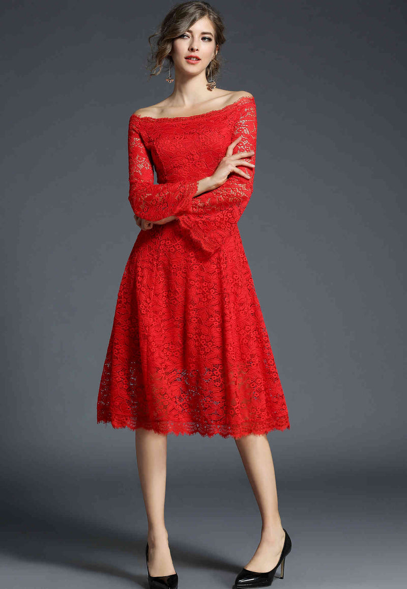 cross shoulder cocktail dress in lipstic red