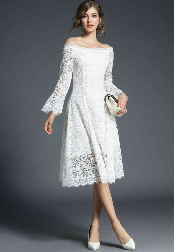 Base white offshoulder party Dress