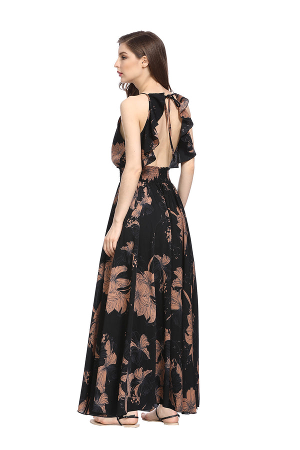 Backless & Brown Floral print Dress