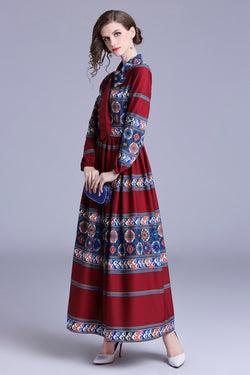Multi Red & blue patterns print Dress
