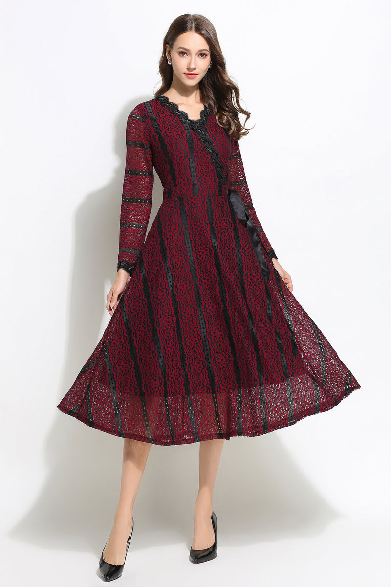 Dark Red wrap tie Dress