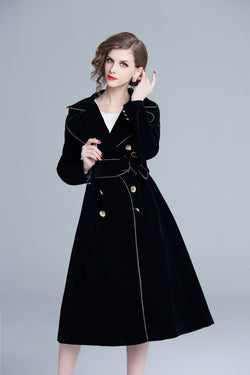 Black Velvet Trench Dress