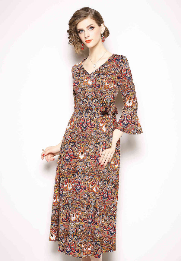 Belted multi floral madi Dress in brown