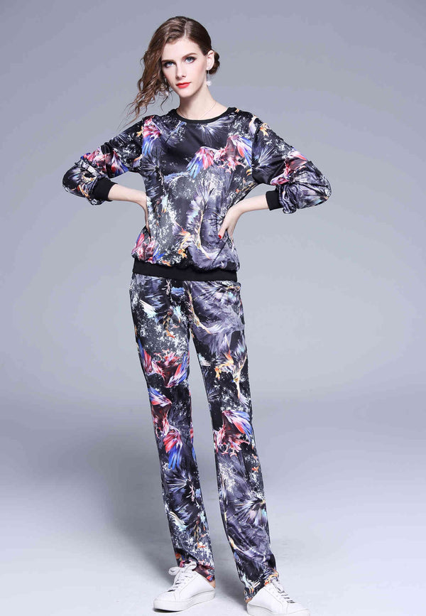 Multicolor design sweat Suit (Blouse & Pants)