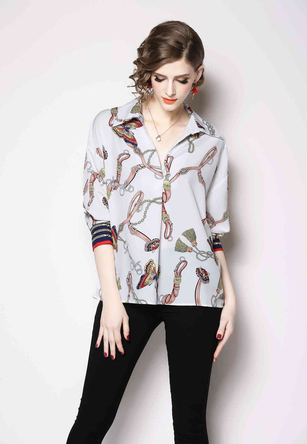 Floral Patterns Print White Shirt