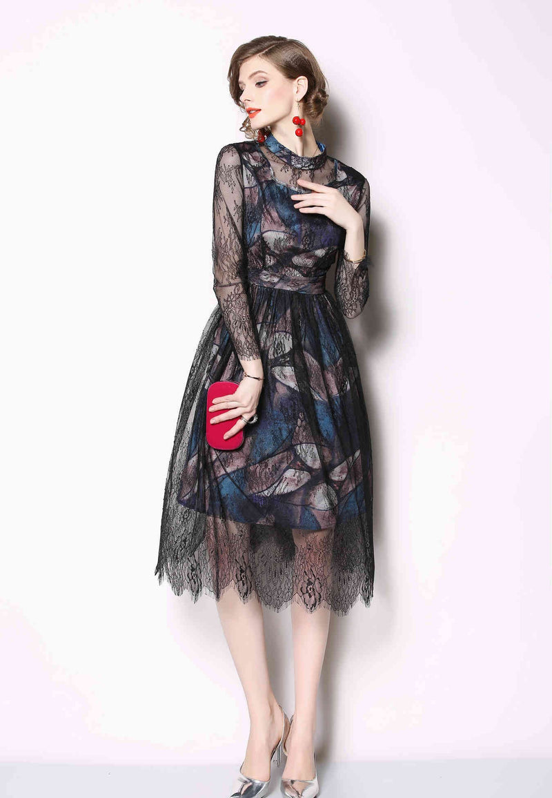 Multi Design Black Dress