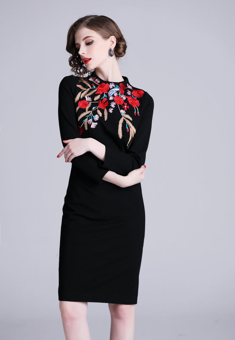 Neck Floral Red Multi Dress