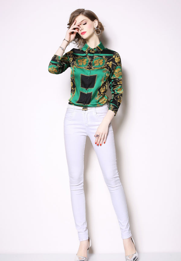 Multicolor Green Patterns Shirt