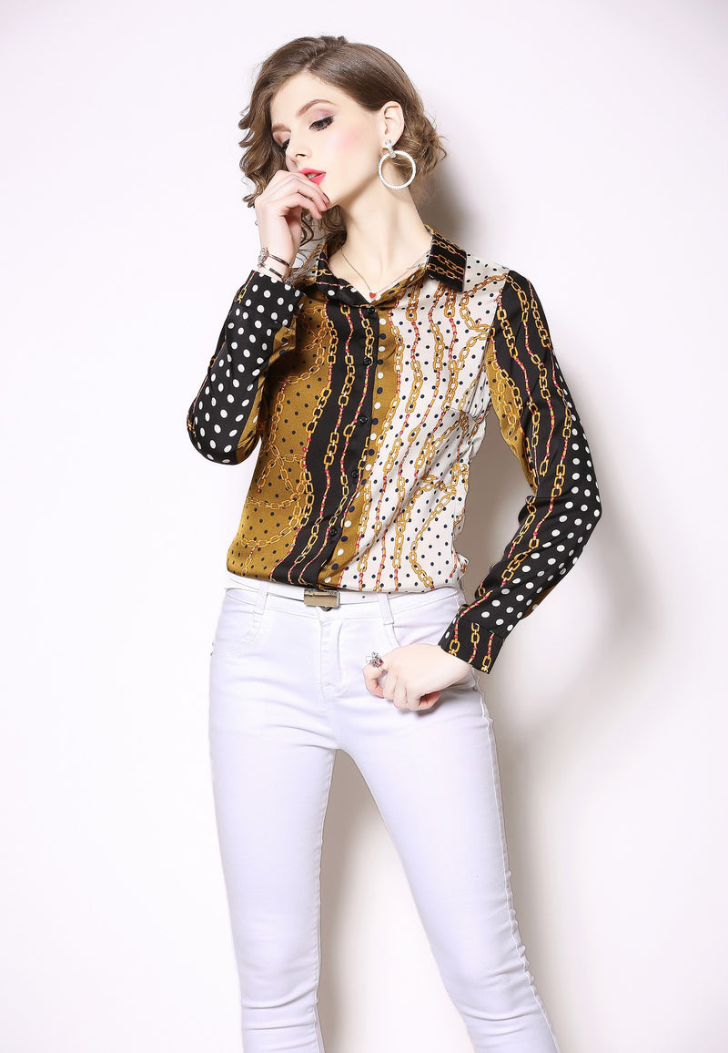 Multicolor Side By Side & Patterns Shirt