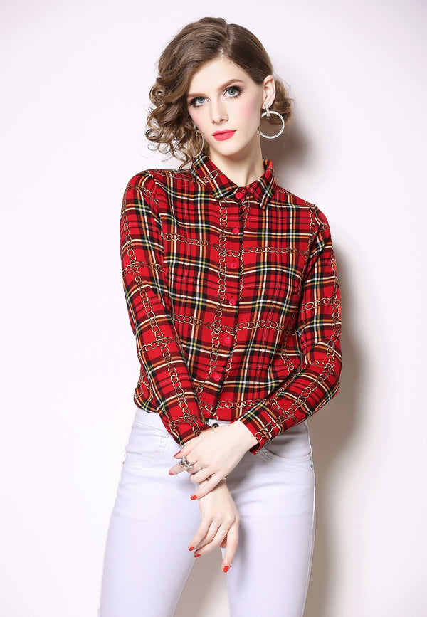 Red Checked Patterns Shirt