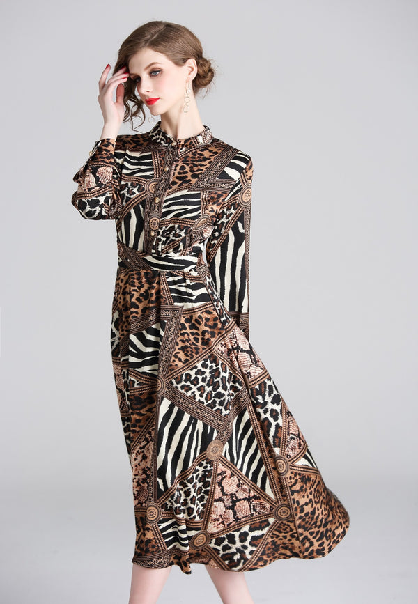 Animal multi print brown Dress
