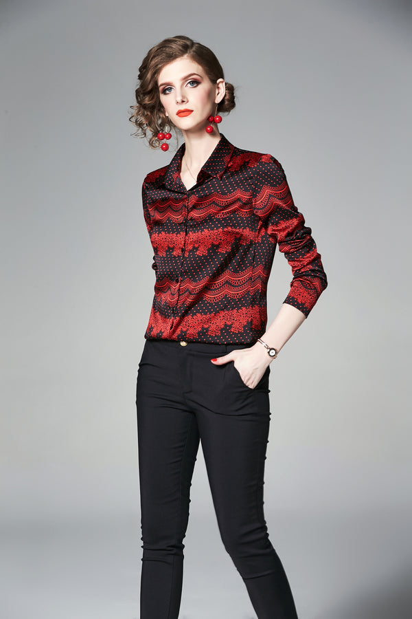Red Lines Multi Patterns Shirt