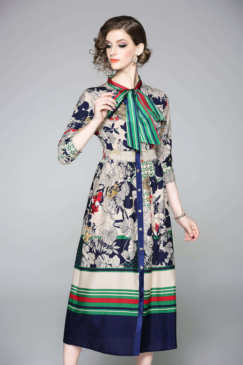Buttoned Multi Green & Blue designs Dress