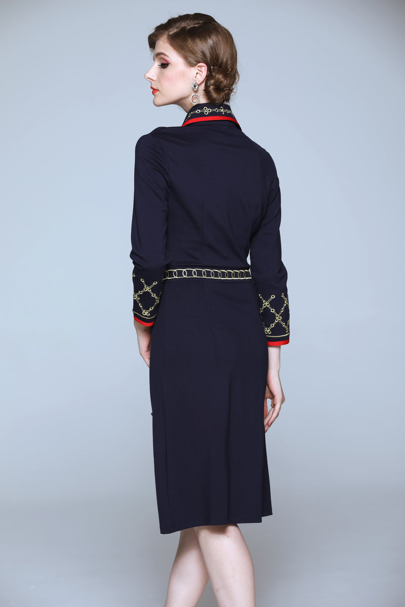 Navy Blue Sided Buttons Dress