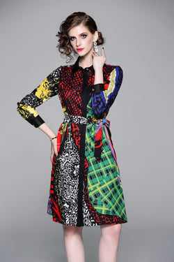 Base Multi patterns side wrap Dress