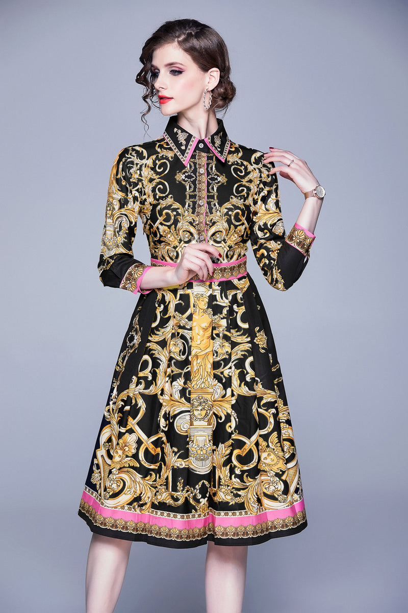 Multi Gold Patterns Black Dress