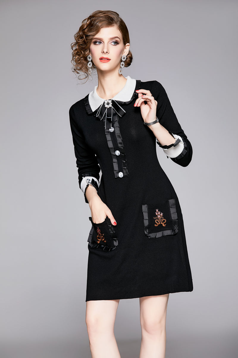 Multi Floral Pockets Black Dress