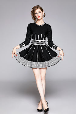 Multi Dotted Lining Black Dress