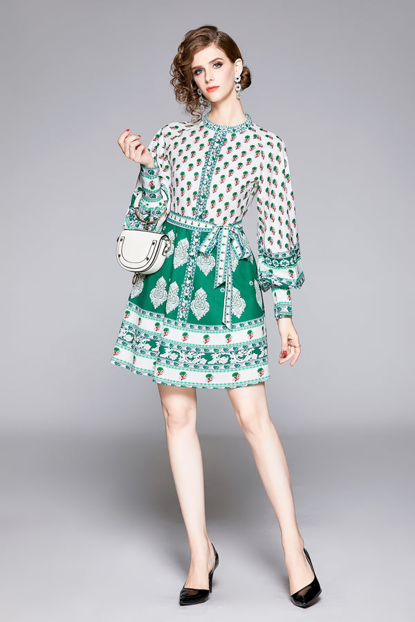 Base white & green print puffed sleeve Dress