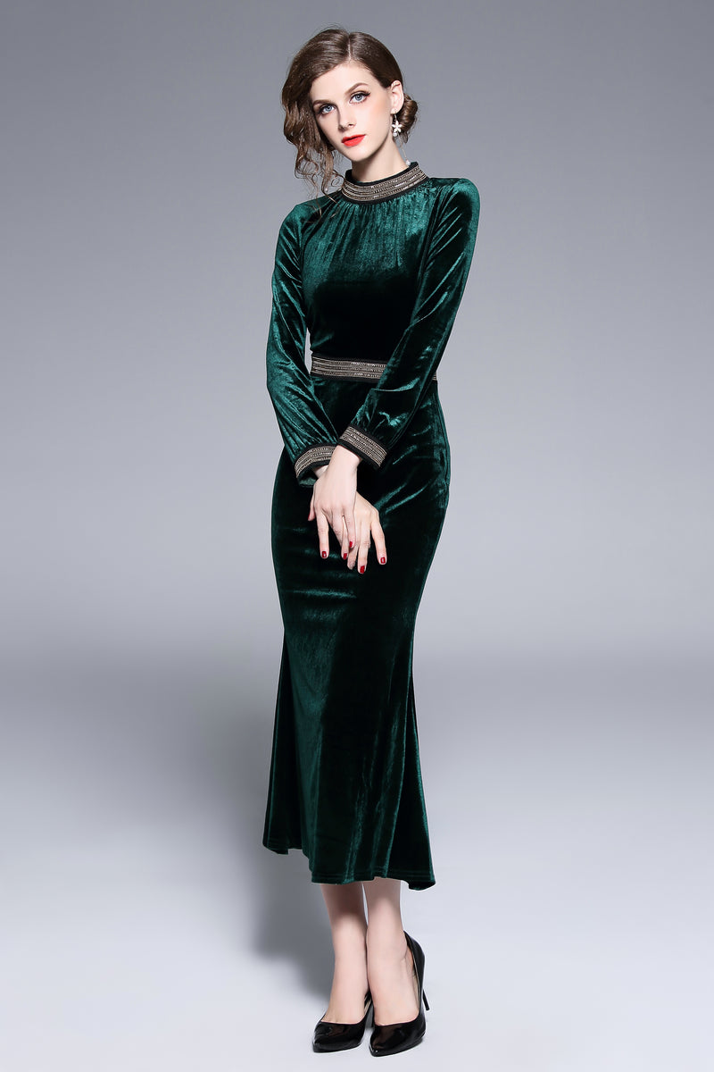 Green Velvet Neck Detail Dress