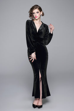 Black Velvet Front Split Dress