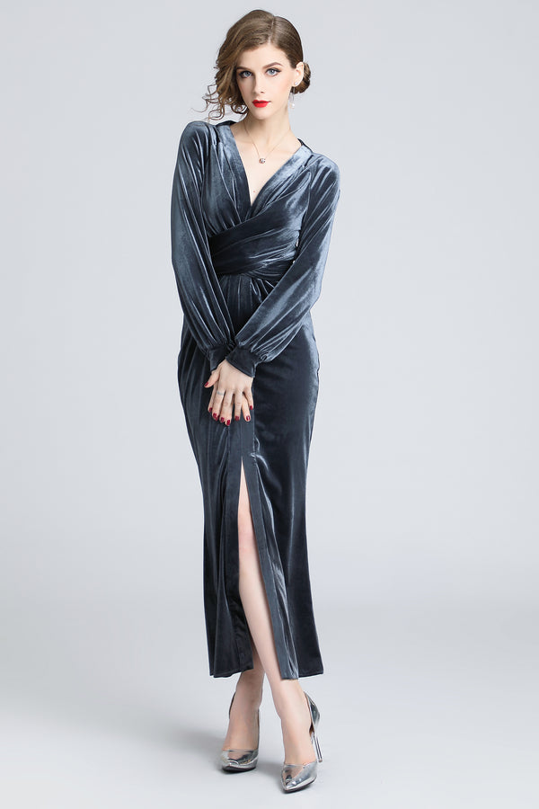 Base Silver velvet split dress