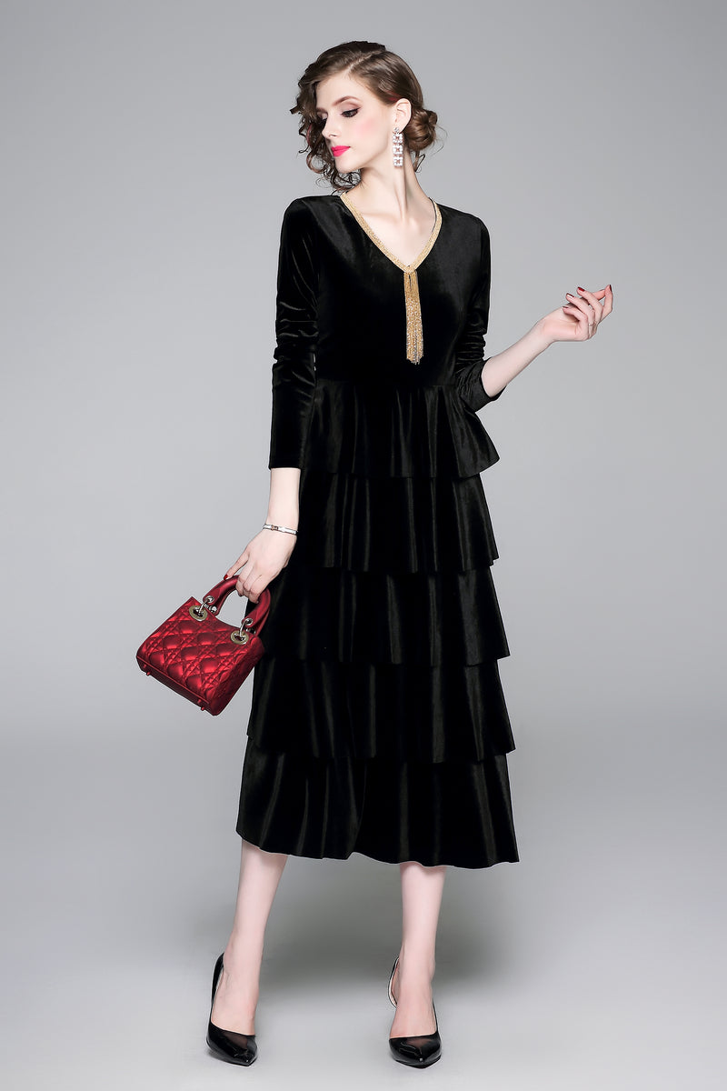 Velvet Patternd Black Dress