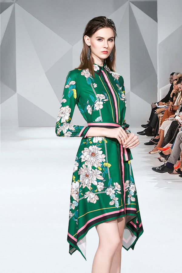 Base Green floral wrap tie Dress