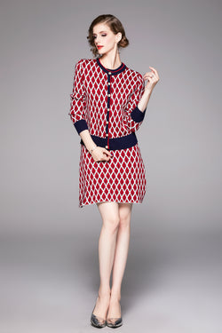 Detailed Red Suit Bundle (Dress & Cardigan)