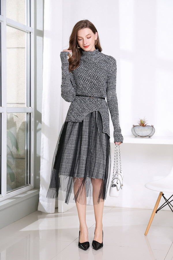 Multi Cut Details Black Suit Bundle (Sweater & Skirt)