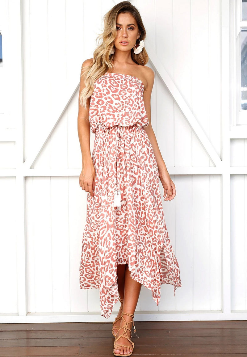 Offshoulder Pink Maxi Dress